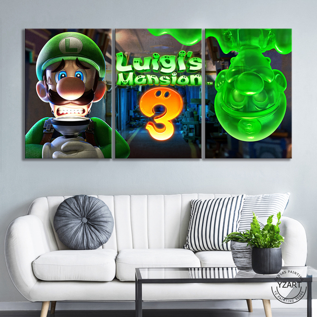 Luigis Mansion 3 Game Poster Canvas Schilderij Home Decor Wall Art 3 Panelen Mario Bros Luigi Cartoon Muur Foto Super smash Bros