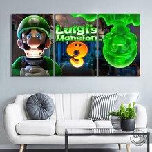 Luigis affiche de peinture sur toile pour décoration de maison, 3 panneaux de dessin animé Mario Bros Luigi, Super Smash