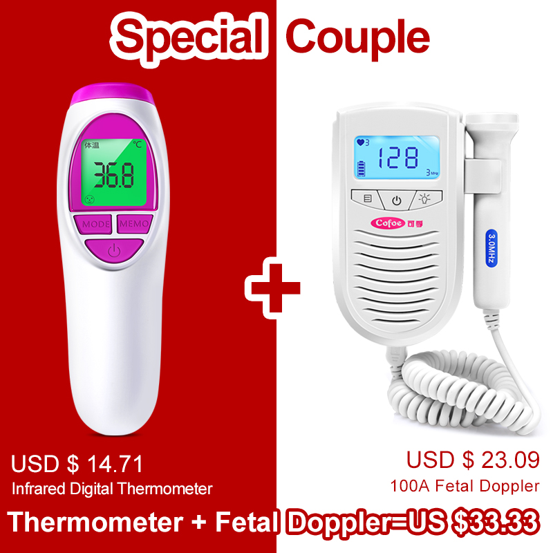 Cofoe Fetal Doppler Ultrasound Baby Heartbeat Detector & Cofoe Infrared Forehead Body Thermometer Muti-fuction USB Charging