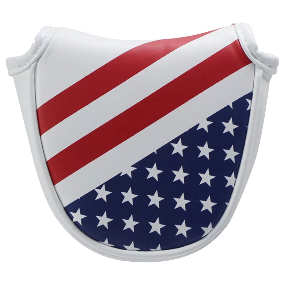 Square PU Leather Golf Universal Headcover Magnetic Closure Thick Club Protector Mallet Flag Style Portable Putter Cover Durable