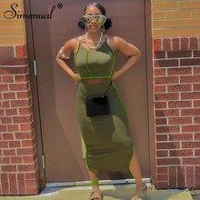 Simenual Bodycon Athleisure Patchwork mujeres conjuntos de dos piezas Correa Club moda Top corto Casual y falda de corte lateral conjunto a juego