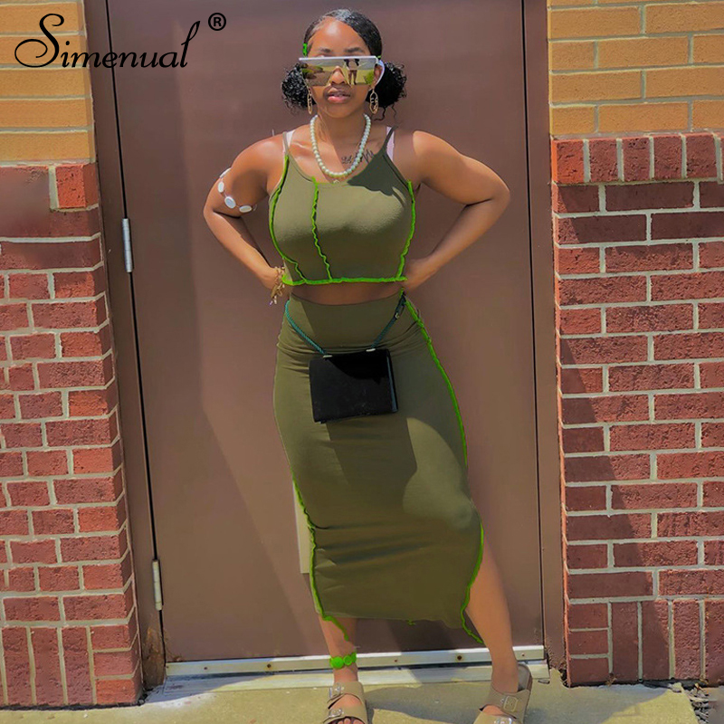 Simenual Bodycon Athleisure Patchwork Women Two Piece Sets Strap Club Fashion Casual Crop Top And Side Slit Skirt Matching Set