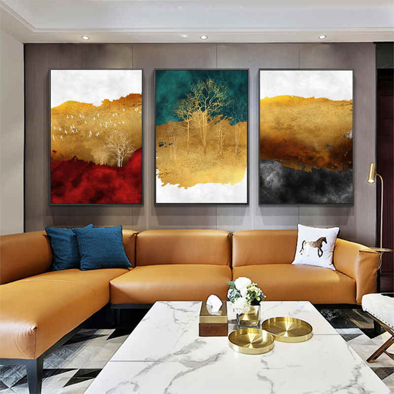Abstract Canvas Prints Artwork Decor Abstract Gold Tree Scenery Red and Blue Mountain Watercolor Painting Poster Wall Home Decor