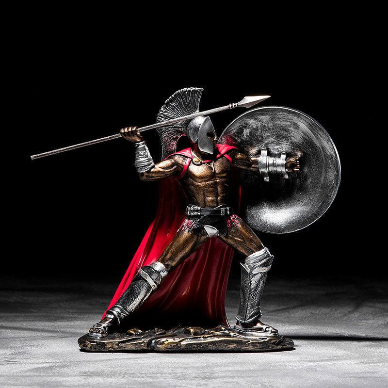 Sparta Statue Resin Figure Sculpture European Retro Ornaments Gladiator Model Home Wine Cabinet Living Room Porch Decoration