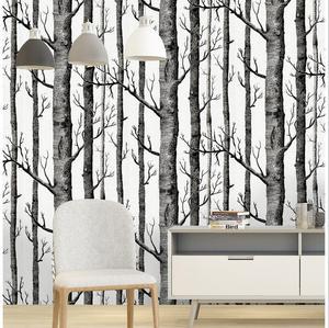 Самоклеящаяся черно-белая березовая древесина, настенная бумага, современный дизайн, настенная бумага для гостиной, рулон, водостойкая нас...