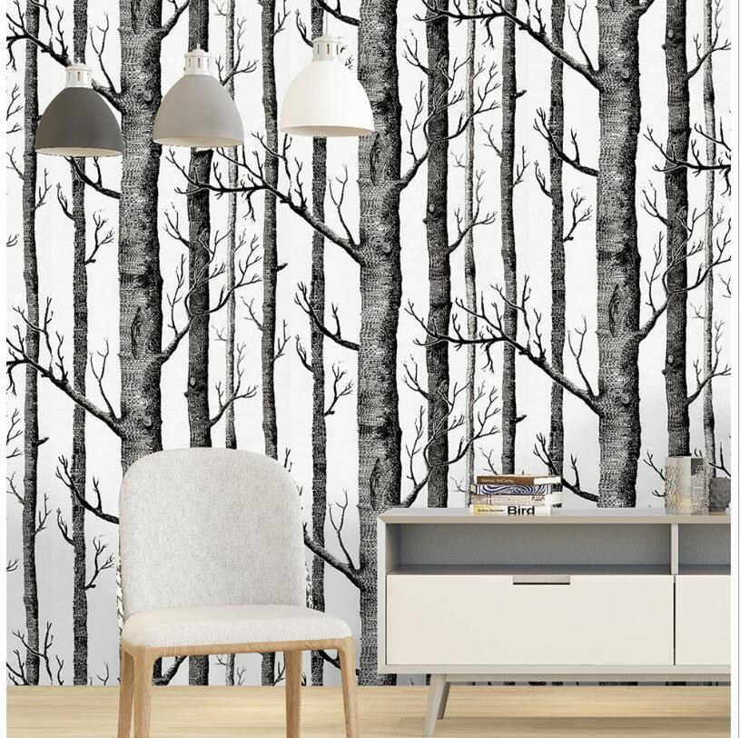 Self Adhesive Black White Birch Forest Tree Wallpaper Modern Design Living Room Wall Paper Roll Woods Waterproof Wallpapers