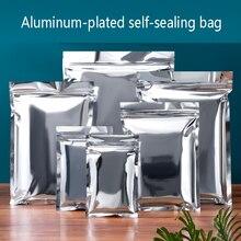 100pcs Flat Glossy Silver Aluminum Foil Zip Lock Pouches Resealable Dried Fruits Sauce Spice Bath Foam Soap Heat Sealing Bags