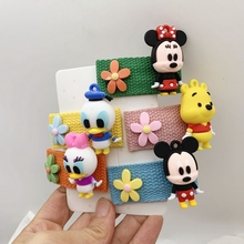 Cartoon Mickey Doll Hair Clips Women Anime Minnie Daisy Donald Duck Hairpin Rubber Hair Ring Girl Hair Accessories Children Gift cute cartoon girl mickey hair rope minnie doll anime daisy donald headband for kid knotted hair loop women holder headdress gift