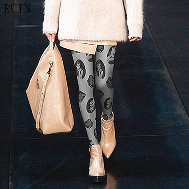RUIN дамски чорапогащи Класически хепбърн глава отпечатва чорапогащници женски момичета 140D