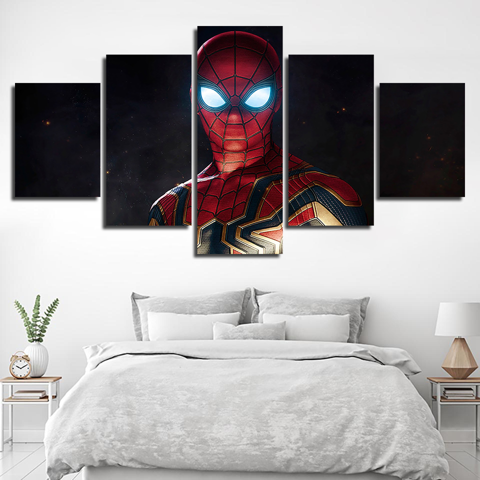 spiderman superheroes 5PCS HD Canvas Print Home Decor room Picture Wall Painting