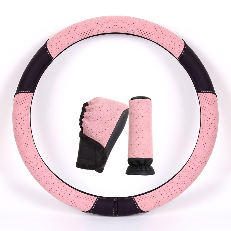 38cm Pink Car Steering Wheel Cover Breathable Anti-Skip Hand Brake & Gear Cover Set  for BMW Volkswagen Car Styling