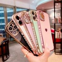 Custodia per telefono di lusso per iPhone 12 Mini 11 Pro X XR XS Max 7 8 Plus SE 2 elettrolitico Love Heart custodia morbida in TPU con motivo laterale