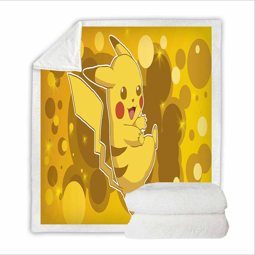 Pikachu Blanket Janpanese Anime Game Character Blanket Sherpa Fleece Plush Throw Balnket Travel Home Warm Blanket Kids Bedding