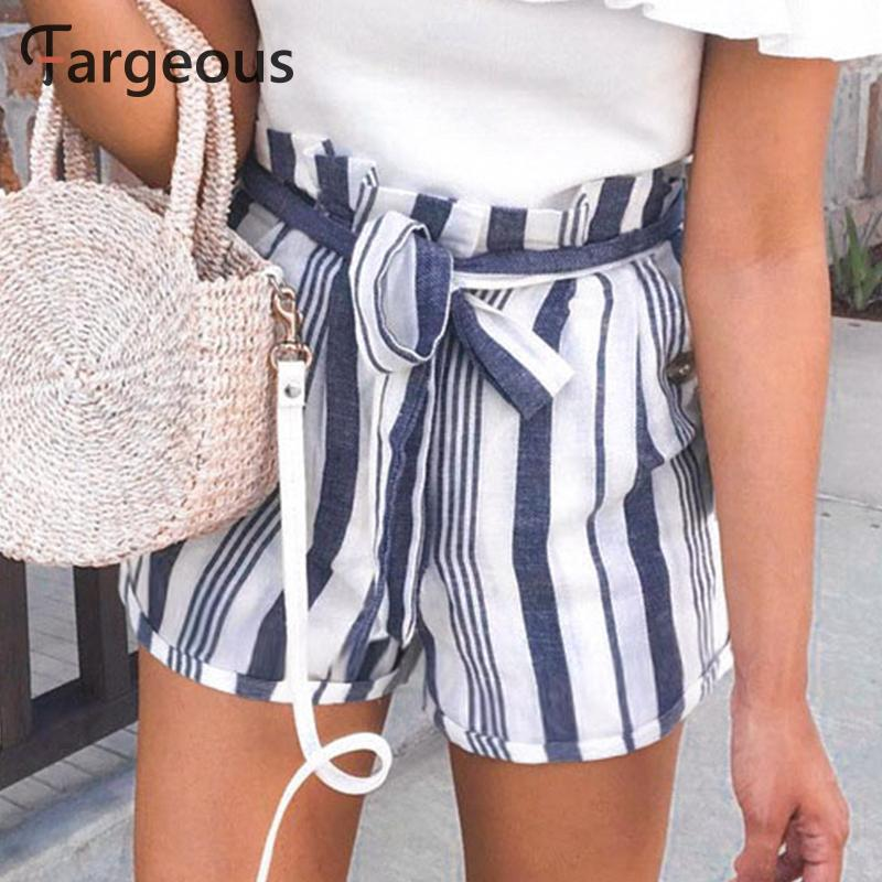 Fargeous Sash Plus Size Shorts Women High Waist Multicolor Wide Leg Shorts Casual Stripe Fashion Shorts Mujer