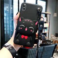 Cartoon DIY 3D Wallet Soft Silicone Case For Alcatel 1C 1S 3 2019 5V 7 A3 XL A7 Shine Lite iDol 4 Cute Cat TPU Cover