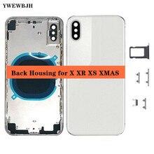 AAA + + arka konut kapak ben telefonu X pil kapağı orta şasi çerçeve ile SIM tepsi yan anahtar parçaları flex kablo tam meclisi
