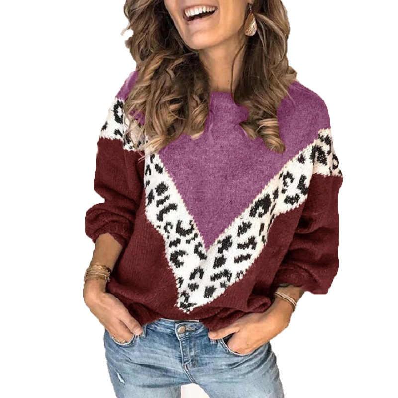 2019 amazon outono e inverno novo europeu e americano popular impressão de emenda leopardo camisola manga longa topo malhas mulher