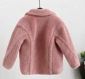 Image 4 - Abrigo de piel sintética para niños de 3 a 12 años, oso de peluche bebé, chaqueta gruesa cálida, abrigo largo para niñas, ropa para niños, prendas de vestir informales