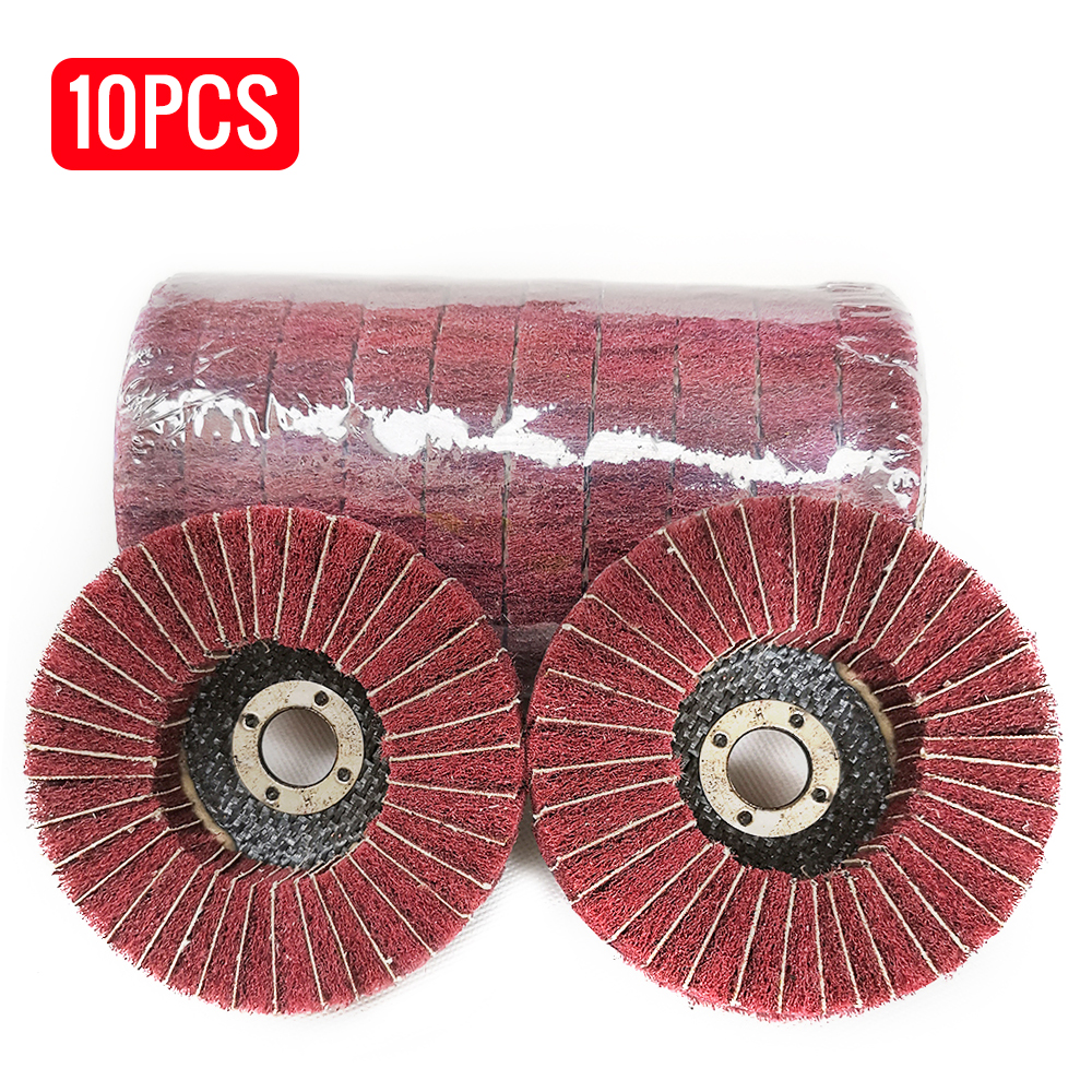 "10Pcs 4/"" 100MM Nylon Fiber Flap Polishing Wheel Abrasive Buffing Disc Pad 120#"