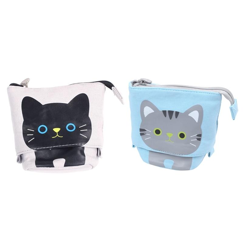 2pcs Canvas Cartoon Cute Cat Telescopic Pencil Pouch Bag Stationery Pen Case Box With Zipper Closure - Gray & Blue
