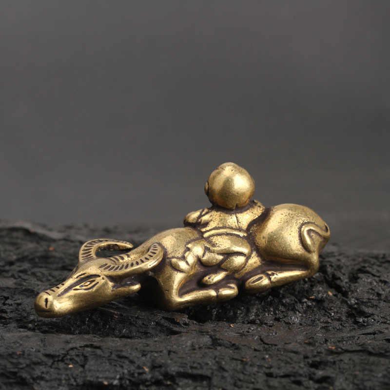 固体真鍮シェパード少年牛小銅手作りアンティーク動物像ミニチュア置物机の家の装飾