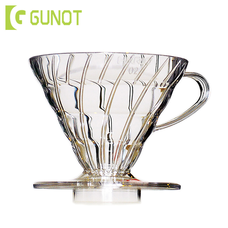 GUNOT V60 Coffee Dripper Cups Reusable Coffee Maker Filter Cup Glass Heat-Resistant Coffee Brewing Filter Cups Barista Tools