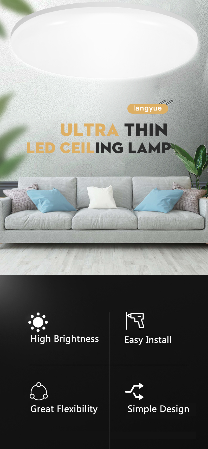 H9376b63eeb1d462b95f7be46ce0fa06b6 LED Ceiling Light 220V 12W 18W 20W 50W Modern Ceiling Lamp Lights 110V Surface Mount Lighting Fixture For Living Room Bathroom