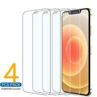 4 piezas de vidrio Protector iPhone 11 12 Pro Max XS XR 7 7 6 6s Plus Protector de pantalla para iPhone 12 Mini 11 Pro Max de vidrio templado