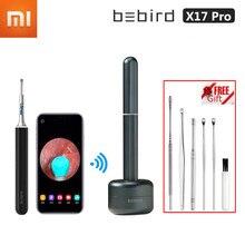 Xiaomi x17 pro bebird visual orelha vara in-ear alta precisão endoscópio de segurança remoção de cera de ouvido mais limpo mini câmera com base