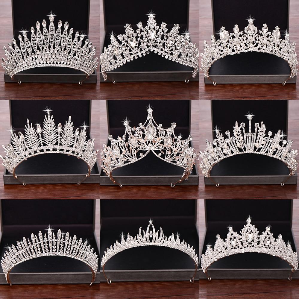 Wedding Hair Accessories Bridal Crowns and Tiaras Silver Color Crystal Rhinestone Wedding Crown Bride Tiara Headpiece Diadem