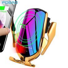 מקורי אוטומטי הידוק 10W Qi רכב אלחוטי מטען מהיר טעינת טלפון מחזיק עבור iPhone 11 XS XR X 8 סמסונג S20 S10 S9 S8