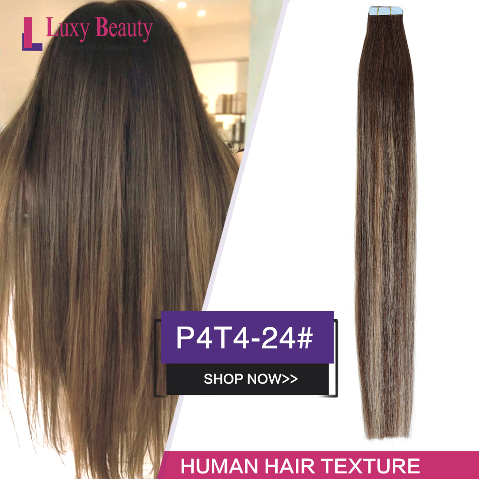 LuxyBeauty Tape In Hair Extensions Dark Brown Light Brown Color Human Hair Extensions P4T4-24