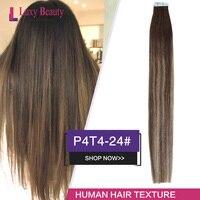LuxyBeauty Tape In Hair Extensions Dark Brown Light Brown Color Human Hair Extensions P4T4 24