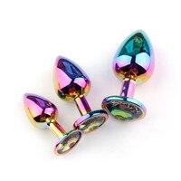 3 pçs arco-íris coração backdoor brinquedos de aço inoxidável forma cristal metal contas anal plugue bunda jóias brinquedo sexo ass para o sexo feminino masculino