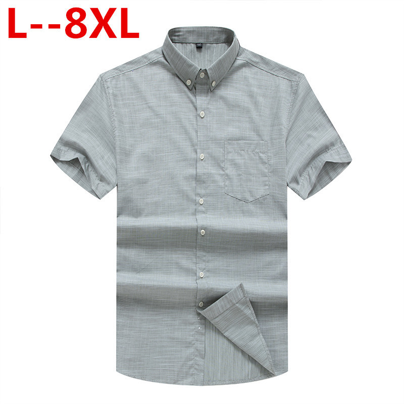 Patchwork Men Shirts Summer New 2020 Men Clothing Short Sleeve Solid Color Men Business Dress Shirts Plus Size 8XL 6XL 5XL 4XL