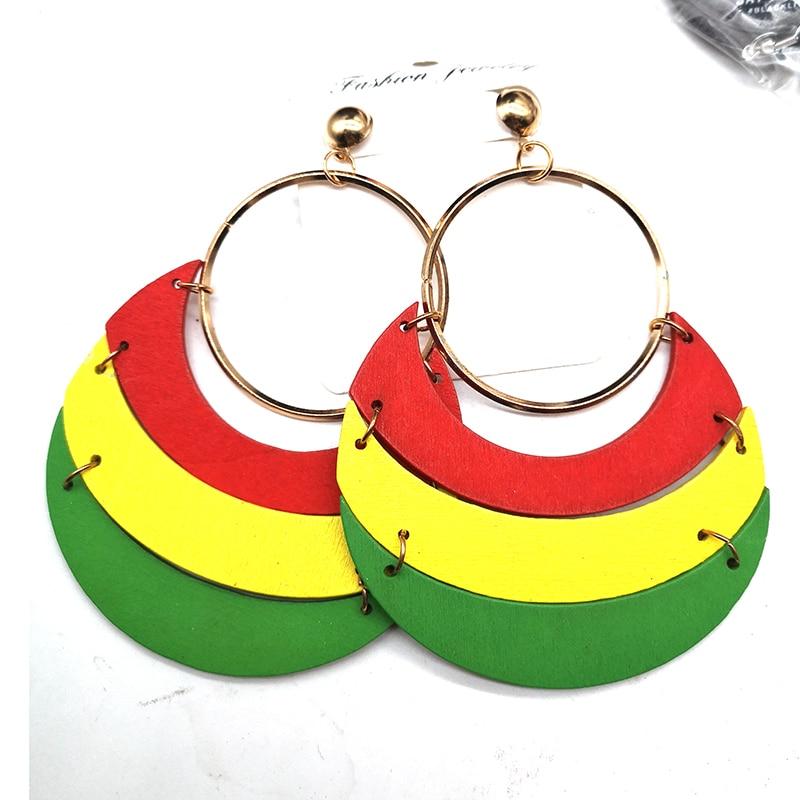 Rasta Wooden Earrings Studs