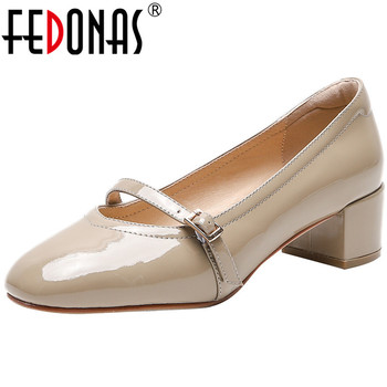 FEDONAS Women Cow Patent Leather Square Heels Elegant Slip On Dancing Pumps 2020 Spring Summer Wedding Shoes Woman Size3-9