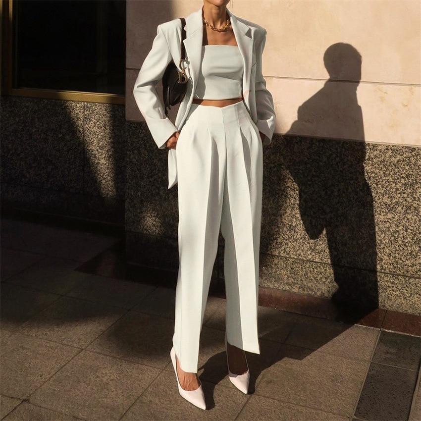 Pantalones de cintura alta de nueve puntos para mujer, pantalón de tubo recto ajustado, ropa informal