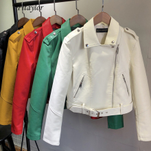 Fitaylor Spring Women Faux Soft Leather Jacket Short Coat Pu Motorcycle Zipper Punk Leather Jacket Black White Green Outerwear