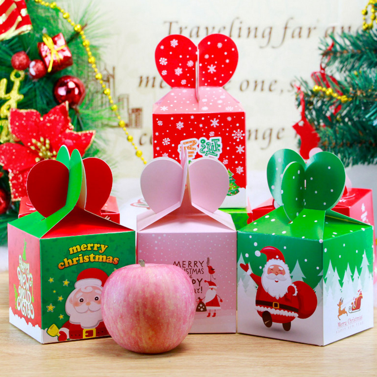 50pcs Merry Christmas Fruit Candie Treat Goody Party Favors Paper Boxes For Xmas Festival Holiday Party Supplies Random Style