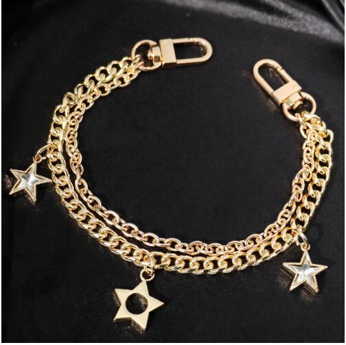 Gold / Silver / Black Bags Handbags Metal Accessories Messenger Bag Chain Length 30cm Stars Hanging Metal Chain Handle
