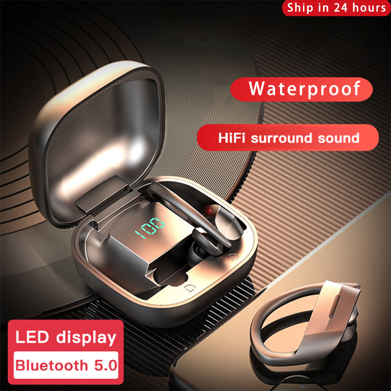 Wireless Headphones Bluetooth 5 0 Earphones TWS Waterproof Sport Ear Hook Bass Earbuds Headset For iOS Android Noise Cancel