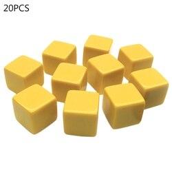20 pçs 16mm dice canto quadrado dados em branco diy dados graváveis 6 lados poker jogo de tabuleiro de jogos dados de ensino a69a