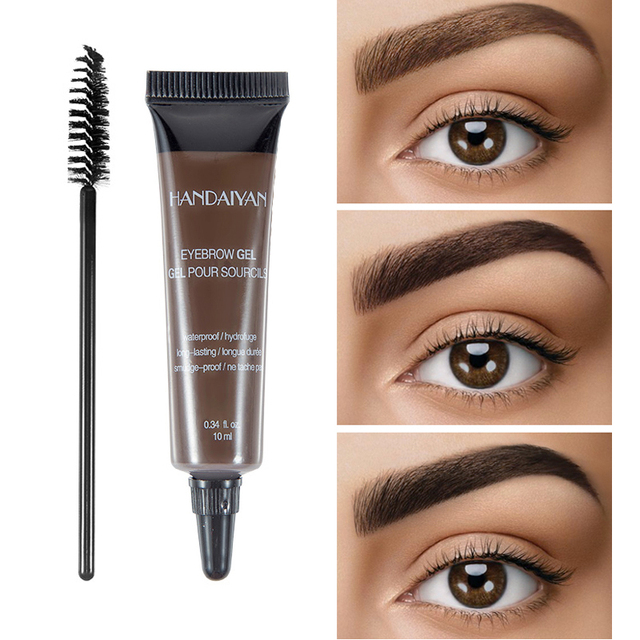 HANDAIYAN 10ml Eyebrow Cream Tattoo Pen with Brush Kit Waterproof Women Makeup Eyebrows Tint Enhancer Gel Eye Brow Dye Cosmetics