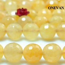 цена ONEVAN Natural Yellow Jade Faceted Beads 6mm 8mm Smooth Loose Round Stone Diy Bracelet Necklace Jewelry Making Gift Design онлайн в 2017 году