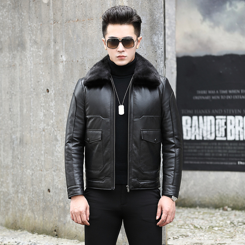 Leather Jacket Men Autumn Winter Genuine Cow Leather Mens Duck Down Coat Real Leather Slim Jackets Jaqueta De Couro NR36 YY513