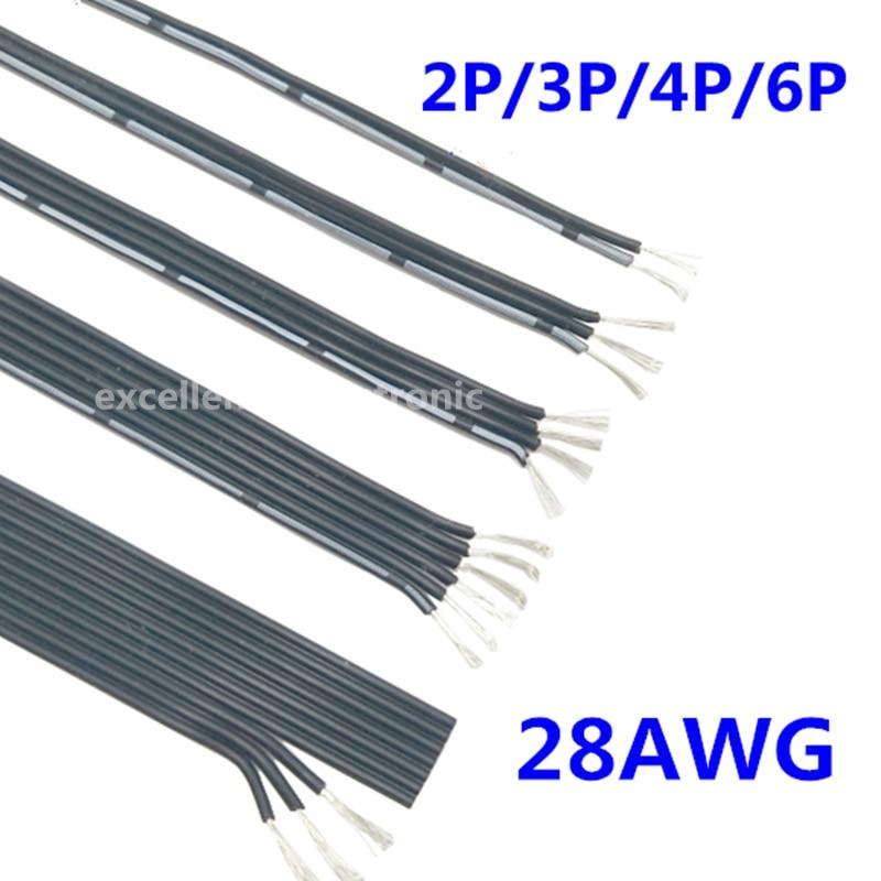 5 метров черный мягкий оловянный медный провод 28AWG силиконовая линия 2P 3P 4P 6P морозостойкий параллельный провод многожильный провод