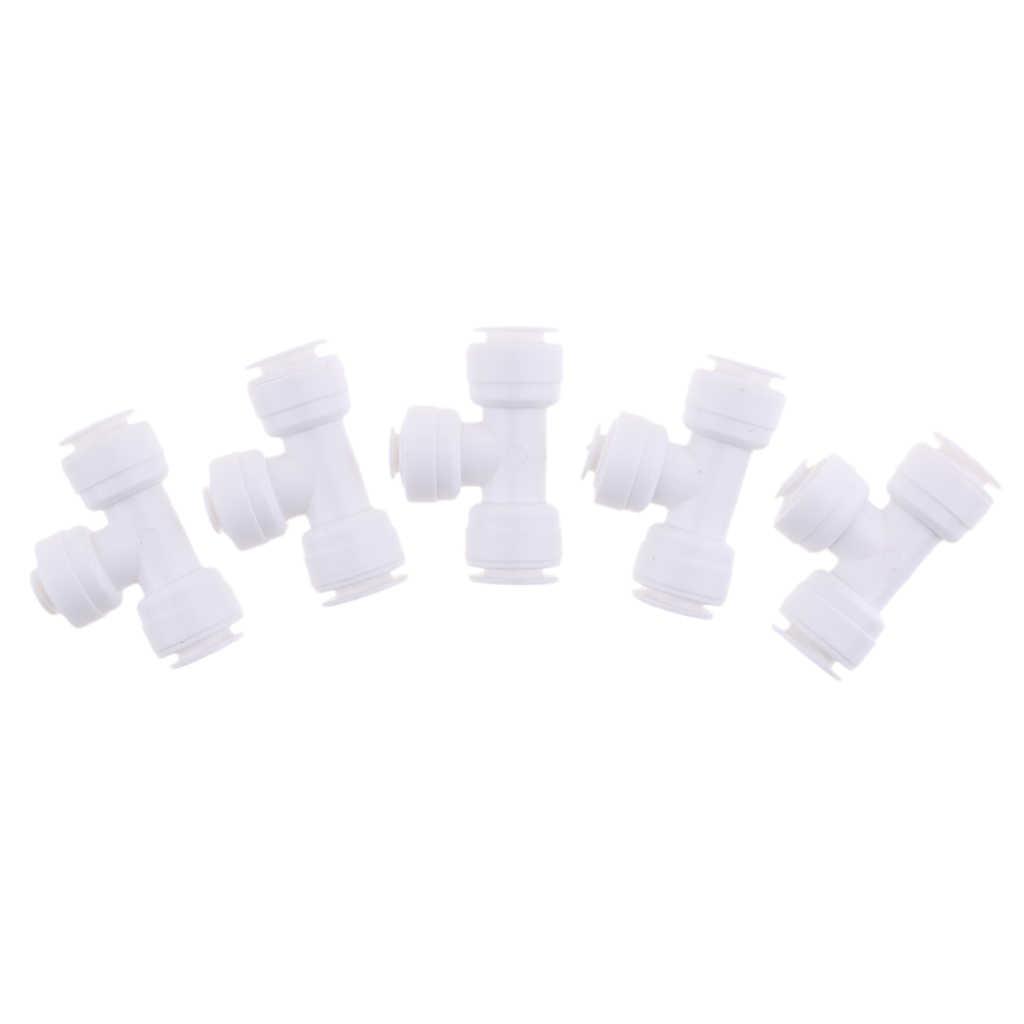 5 Buah Bola Katup Konektor Fitting 3/8 Inch 1/4 Inch 3/8 Inch Pushfit- kulkas Pipa ro Reverse Osmosis Air Tabung