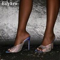 Eilyken argent serpent grain femmes pantoufles 2020 été mode PVC strass talons hauts dames Mules Sexy bout ouvert chaussures de fête