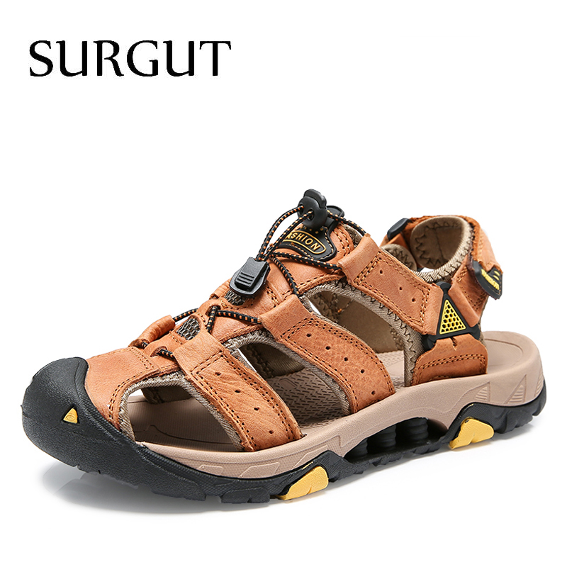 SURGUT 2020 New Male Shoes Genuine Leather Men Sandals Summer Men Shoes Beach Shoes Man Fashion Outdoor Casual Sneakers Size 48